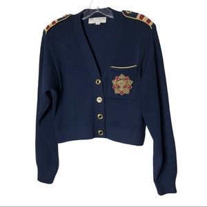 St. John Sportswear Blue Nautical Cardigan